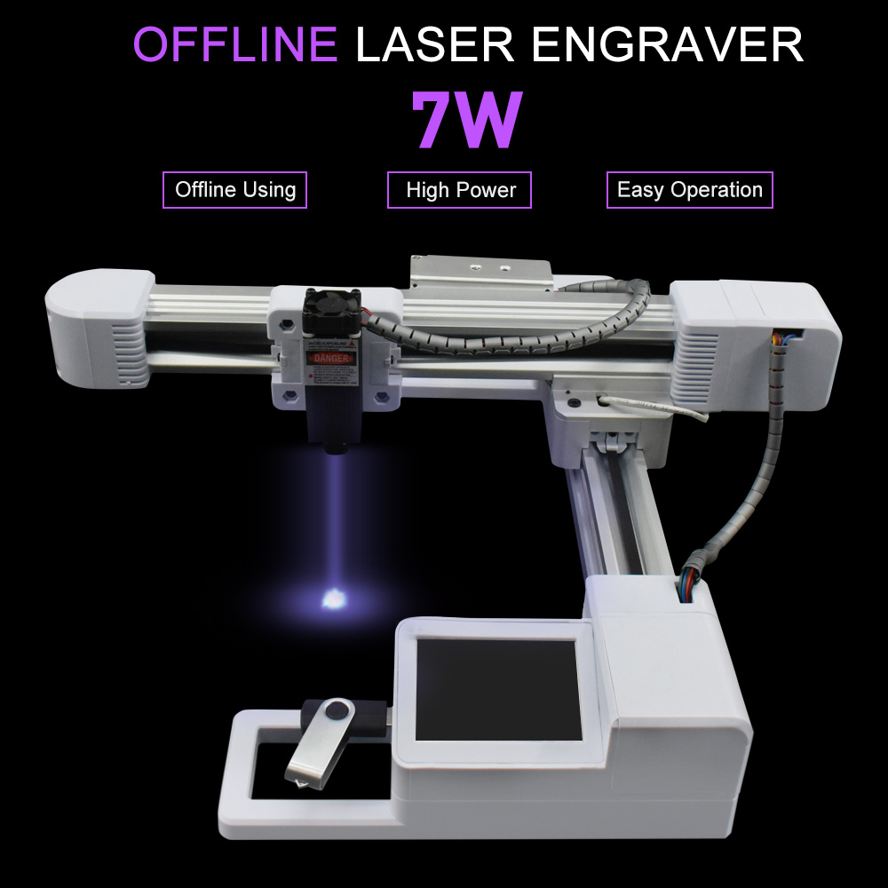 7000MW Wood Router OffLine Control Milling Machine CNC Engraving Machine 7W 3W Laser Engraving Machine Carving Wood Tools