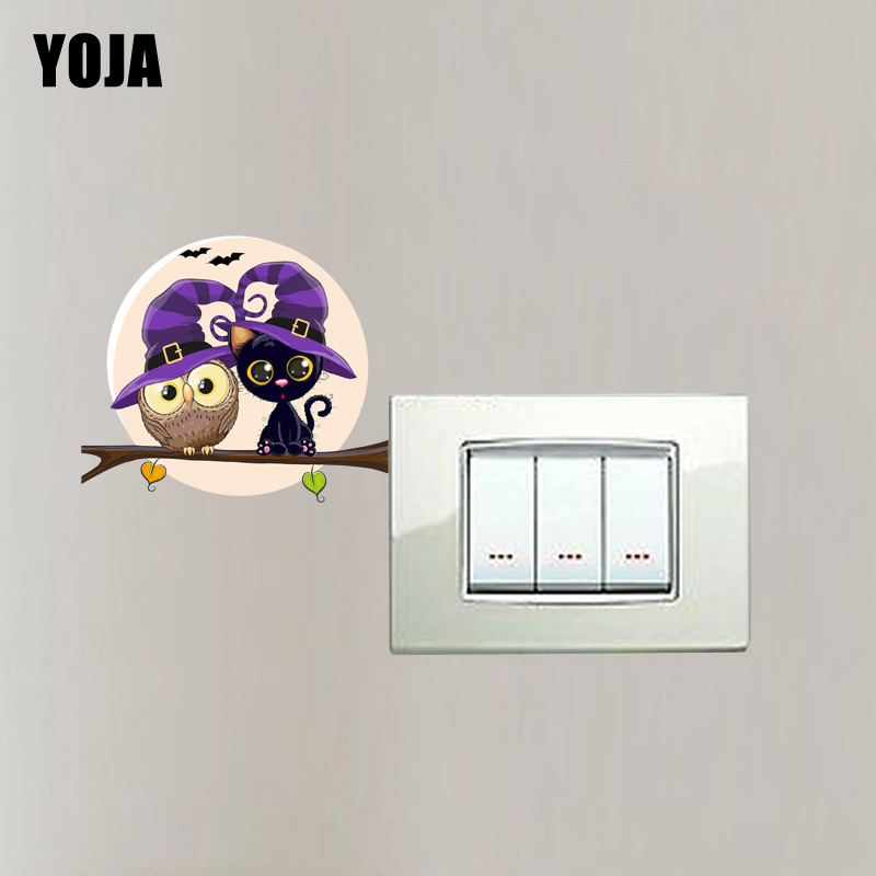YOJA Lovely Owls And The Cat Decor Switch Sticker Wall Room Personalized Bedroom 10SS0017