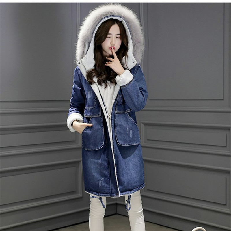 2017 Winter Fur Collar Cowboy Parka Faux Lamb Wool Warm Denim Jacket Coat Female Long Coat Thickened Slim Womens Windbreaker цены онлайн