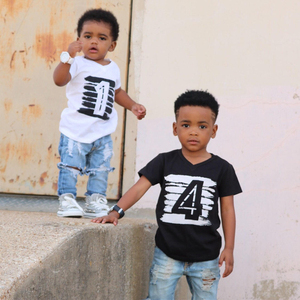 Summer Baby Boys T-shirt For Girl Tops White Black 1 2 3 4 Years Birthday Outfits Kids Tees Shirt Tops Children Shirts Clothing(China)