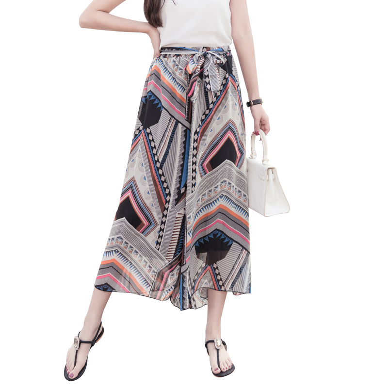 Fashion 2019 Summer New Women Chiffon   Wide     Leg     Pants   Print Thin Ladies High waist Nine   Pants   Casual Loose Chiffon Skirt   Pants