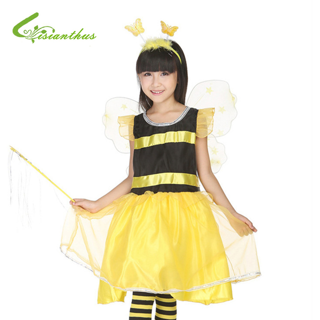 Animais Abelha Vestido Com Headwear & Asas Meninas Trajes de Halloween Cosplay Roupas Desgaste Estágio Crianças Masquerade Roupas de Festa de Dança