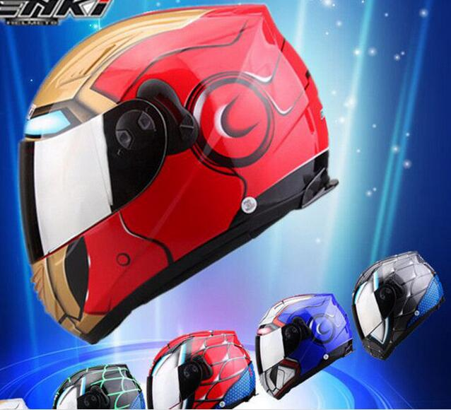 motorcycle helmet four seasons double lenses anti-fog full face automobile race helmet iron man spider man style fashion dql full face helmet motorcycle in the summer seasons man anti fog helmet s with clear lens