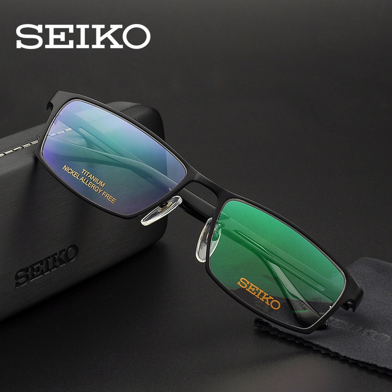 SEIKO Titanium Eyeglass Frame for Men Optical Glasses Frame Rectangle Browline Spectacles Square Myopia Eyeglasses HC1009