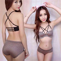 sexy lingerie 2016 new comfortable Gather Prop Multi rope overlapping Back No trace lace bra set underwear women france sexy bra