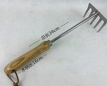 Нержавеющая сталь пять зуб грабли с деревянной ручкой бороны рыхления оборудование балкон горшок грабли садовые инструменты