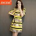 Плюс размер Лето Dress 2017 Новый Дамской одежды Корейский Свободно Полосатый Повседневная Dress Желтый Прямо Белье Хлопок Мини Платья Q611