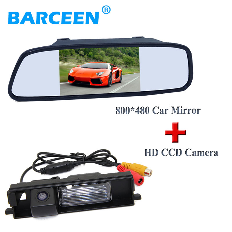 Black plastic shell car display mirror monitor +cca image car parking camera use for Toyota RAV4 (2009~2012)