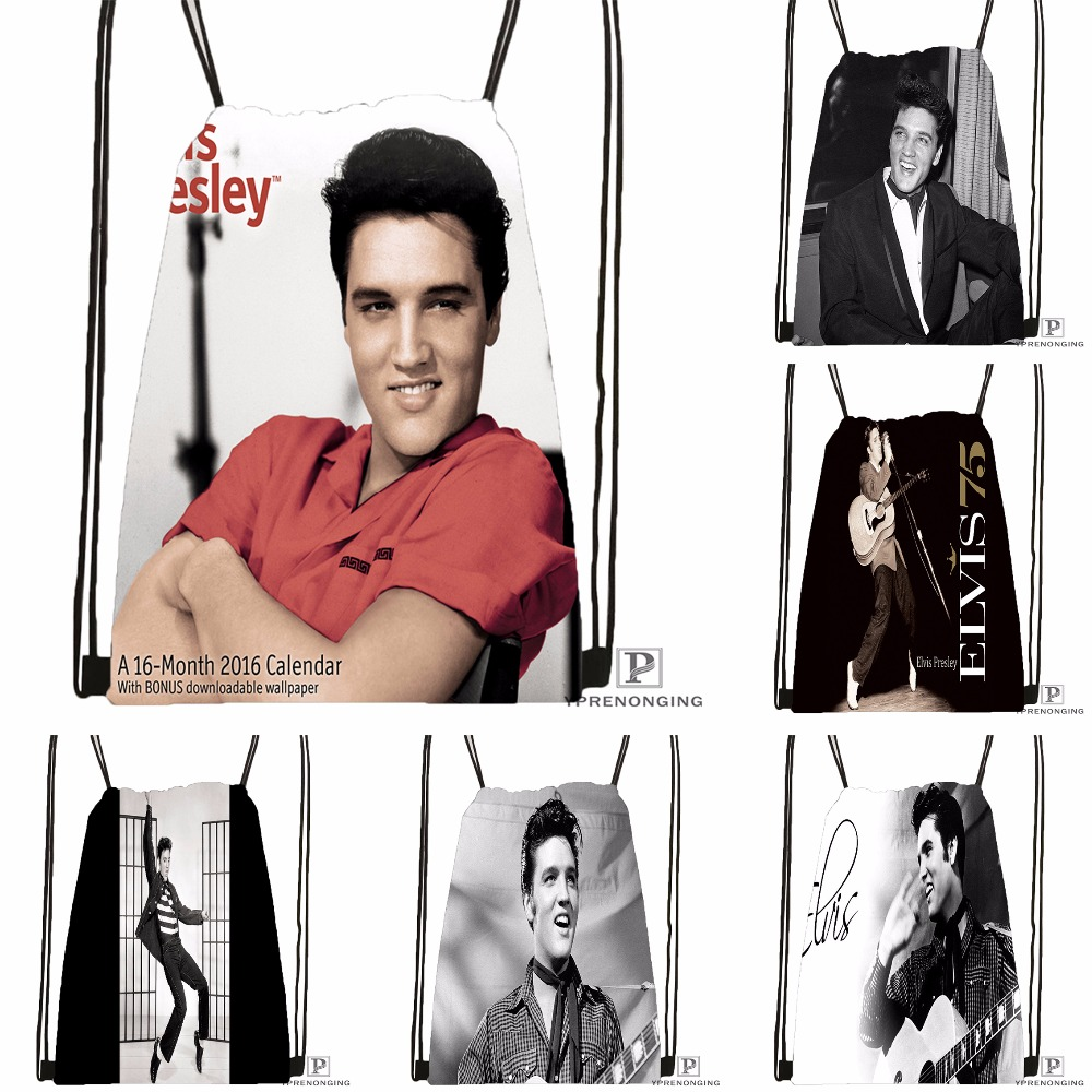 Custom Elvis Presley Singer Art Drawstring Backpack Bag Cute Daypack Kids Satchel (Black Back) 31x40cm#180531-03-77