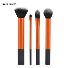 New 4pcs Beginner Makeup Brushes Portable Professional Cosmetic Brush Real Makeup Powder Brushes Techniques Set Kit Make Up Tool
