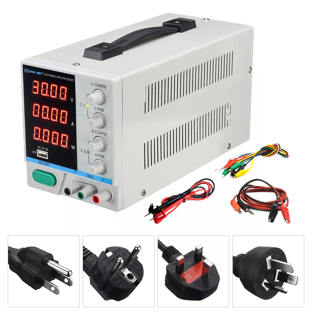 New PS 3010DF 4 Digit Display 30V 10A Laboratory DC Power Supply Adjustable USB Charging Repair