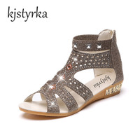 Kjstyrka 2017 New Bohemian Women Sandals Crystal Low Flat Heel Sandalias Women Shoes Thongs Sapatos Summer
