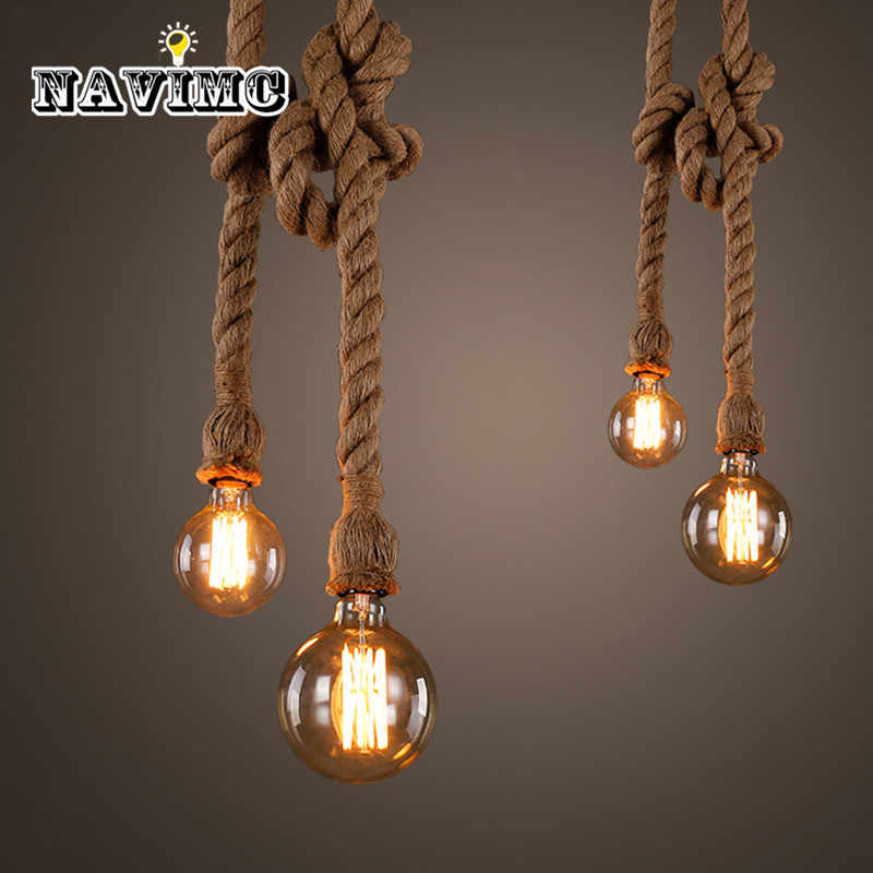 Retro Vintage Rope Pendant Light Lamp Loft Industrial Single/Double Head E27 Pendant Lamp Edison Bulb For Living Room