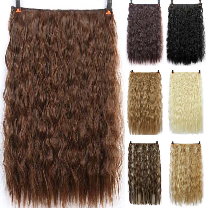 DIFEI 24 Inch Long Synthetic Hair Clip In Hair Extension Heat Resistant Hairpiece Natural Corn Perm Hair Piece