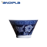 60ml Boutique Jingdezhen Bue and White Porcelain Flower Teacup Master Cup Tea Cup Bowl Chinese Ceramic Kung Fu Tea Set Drinkware