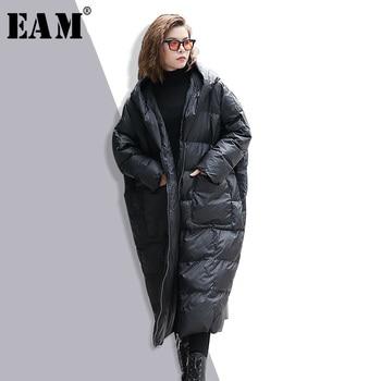 [EAM] 2020 nouveau hiver à capuche à manches longues couleur unie noir coton rembourré chaud ample grande taille veste femmes parkas mode JD12101 1