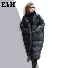 Jacket Women Parkas Winter Fashion EAM Hooded Cotton-Padded Long-Sleeve Warm Black Solid