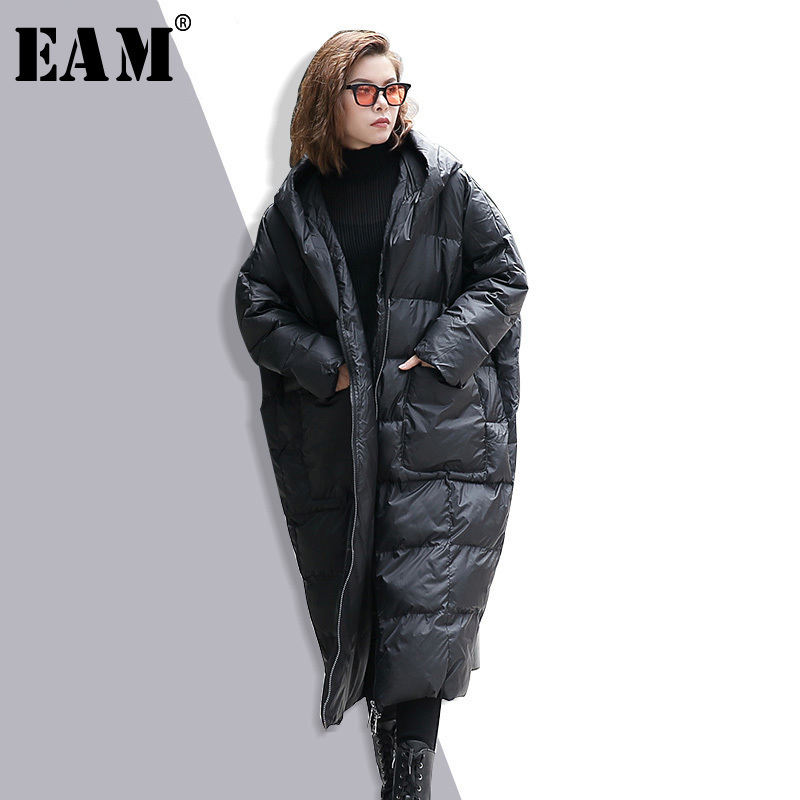 EAM 2020 New Winter Hooded Long Sleeve Solid Color Black Cotton padded Warm Loose Big