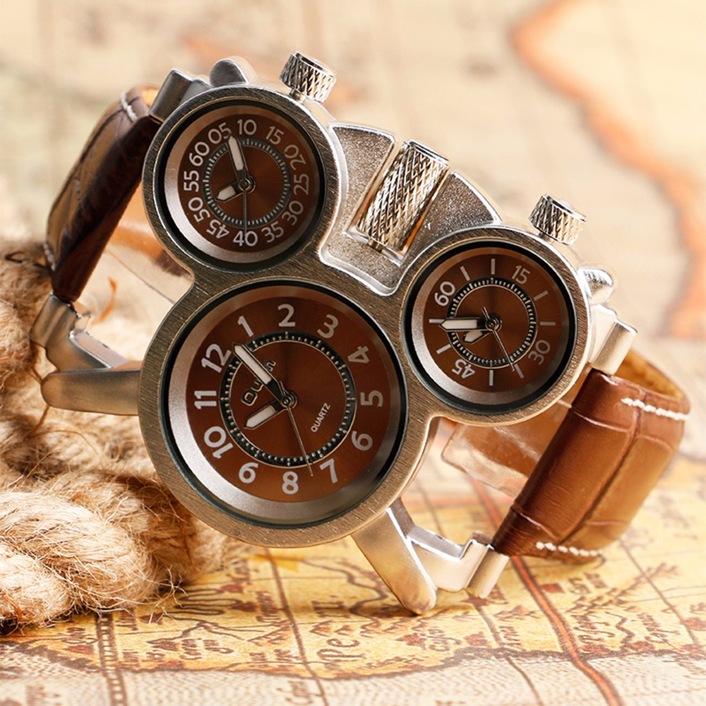 Unique Watches for Men Three Time Zone Large Big Size Irregular Dial Real Leather Strap Military Men's Wristwatches Male Clock 14