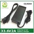Aprovado pela CE 33.6v2a bateria de lítio carregador para 8 series bateria para bicicleta elétrica / monociclo / scooter, Ect