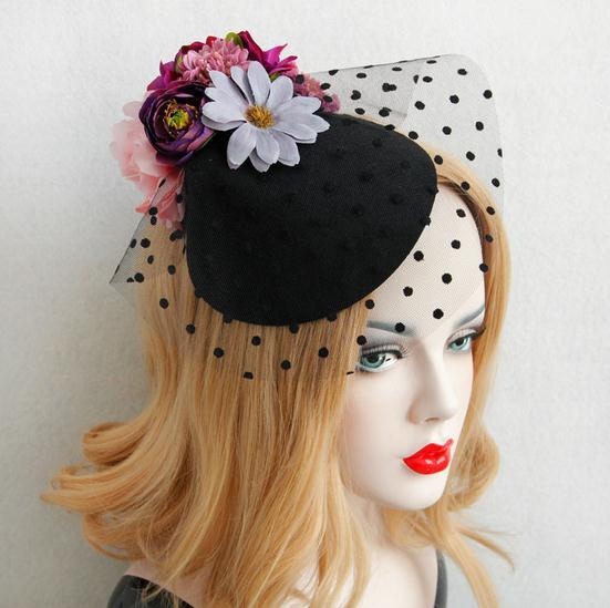 Fashion Lady Flowers Lace Veil Top Hair Clips Bridal Mini Top Hat Clip Lolita Burlesque Fascinator Hair Accessories 2