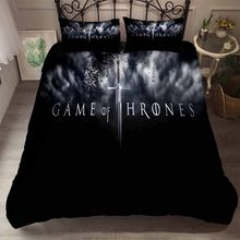100% Microfiber Black/White Duvet Cover Set 3PCS+2 Pillowcase 3D Sharp Sword Game of Thrones Bedding Set with Black Dots Bed Set(China)
