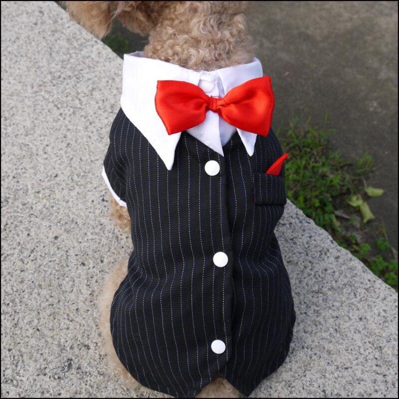 Cat-Puppy-Clothes-Dog-Wedding-Dress-Tuxedo-Suit-Coat-With-Bowtie-Chihuahua-Poodle-Bichon-Schnauzer-Pug
