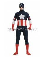 Black Captain America Costume Spandex Close Fit Captain America Zentai Suit Cosplay Party