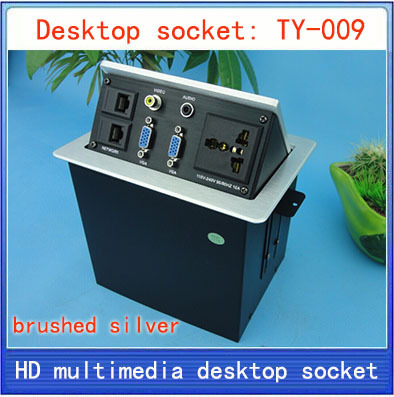 NEW Desktop socket / hidden multimedia information box outlet /  network RJ45 3.5 Audio VGA  interface desktop socket Box TY-009 new l0211 multimedia desktop socket multifunctional desktop socket outlet three plug socket network meeting