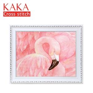Image 1 - KAKA Cross zestaw do szycia haft robótki zestawy z nadrukowanym wzorem, 11CT na płótnie, wystrój domu do domu w ogrodzie, 5D czerwony Flamingo
