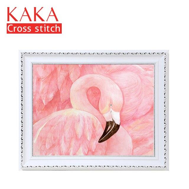 KAKA Cross zestaw do szycia haft robótki zestawy z nadrukowanym wzorem, 11CT na płótnie, wystrój domu do domu w ogrodzie, 5D czerwony Flamingo