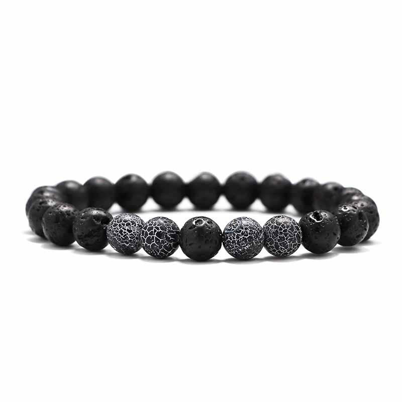 Мужские Браслеты Бусы из лавового Камня Натуральный Камень дерево жемчуг тигровый глаз бренд Модные четки 8 мм браслеты для йоги для женщин ювелирные подарки - Окраска металла: 5