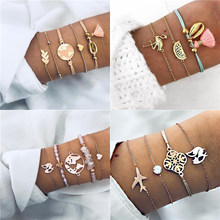 Modyle Bohemian Handmade Pink Crystal Beads Bracelets for Women Vintage Fashion Fox Map Bracelet Bangles Jewelry Gifts(China)
