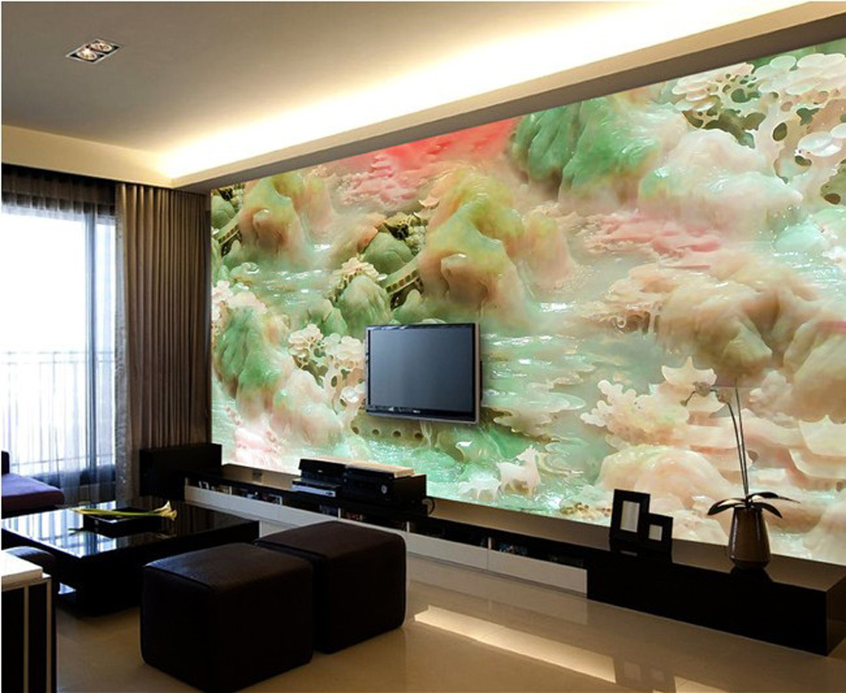 Jade Carving Sculpture Style Wallpaper 3d Wall Mural Rolls for Hotel Bar Baby-room Bedroom Living Room KTV Cafe Restaurant 3d rock n roll music it s my time any size custom wallpaper mural rolls hotel restaurant coffee bar ktv living room background
