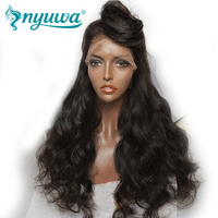 NYUWA 250% Density 360 Lace Frontal Wig Pre Plucked Natural Hairline Body Wave Brazilian Remy Human Hair Wigs With Baby Hair