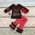 Meninas do bebê cair roupas boutique meninas ela é feroz arrown plissado calça roupas crianças roupas seta vermelha com acessórios