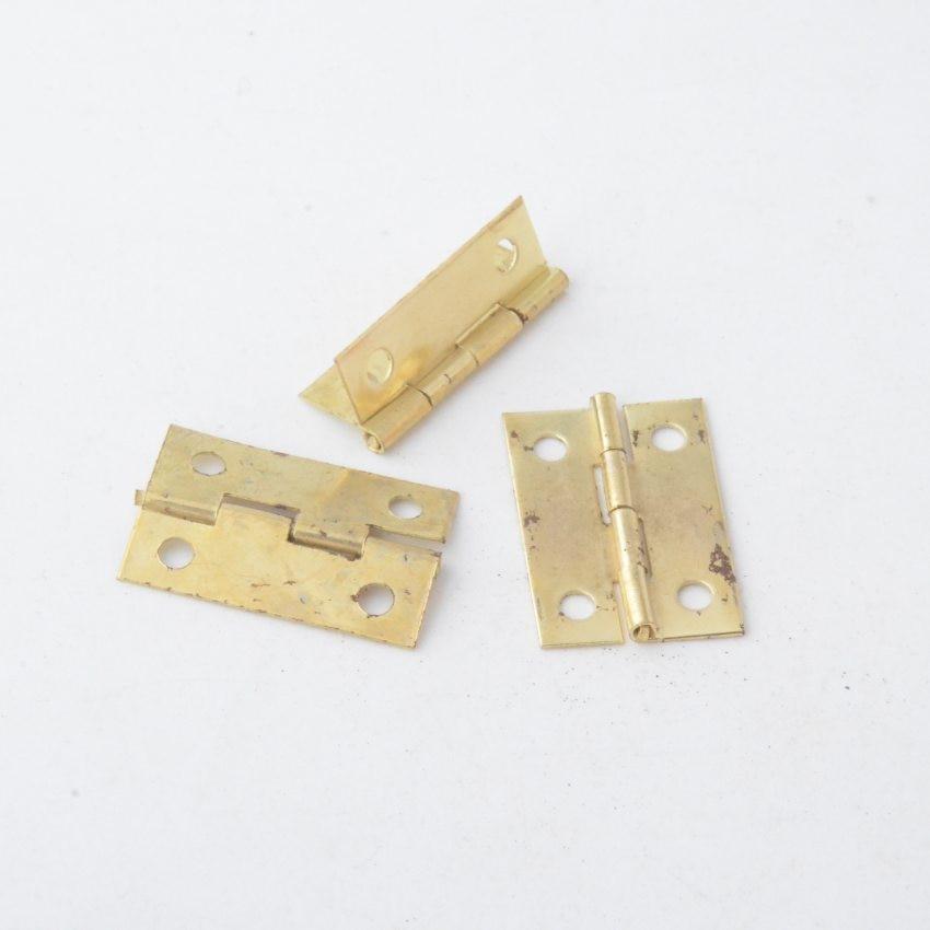 Free Shipping 50pcs Gold Tone Hardware 4 Holes DIY Box Butt Door Hinges (Not Including Screws) 24x16mm J3016
