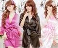 1 Шт. Костюм Сексуальное Женское Белье для Женщин пижамы Моды Атласные Кружева Халат Пижамы ночные Рубашки Стринги платье