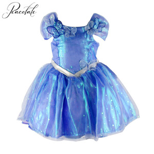 On Sale 2-3Years Summer Children Kids Girls Dress Blue Dress Butterfly Princess Dress For Casual Party Birthday(China)
