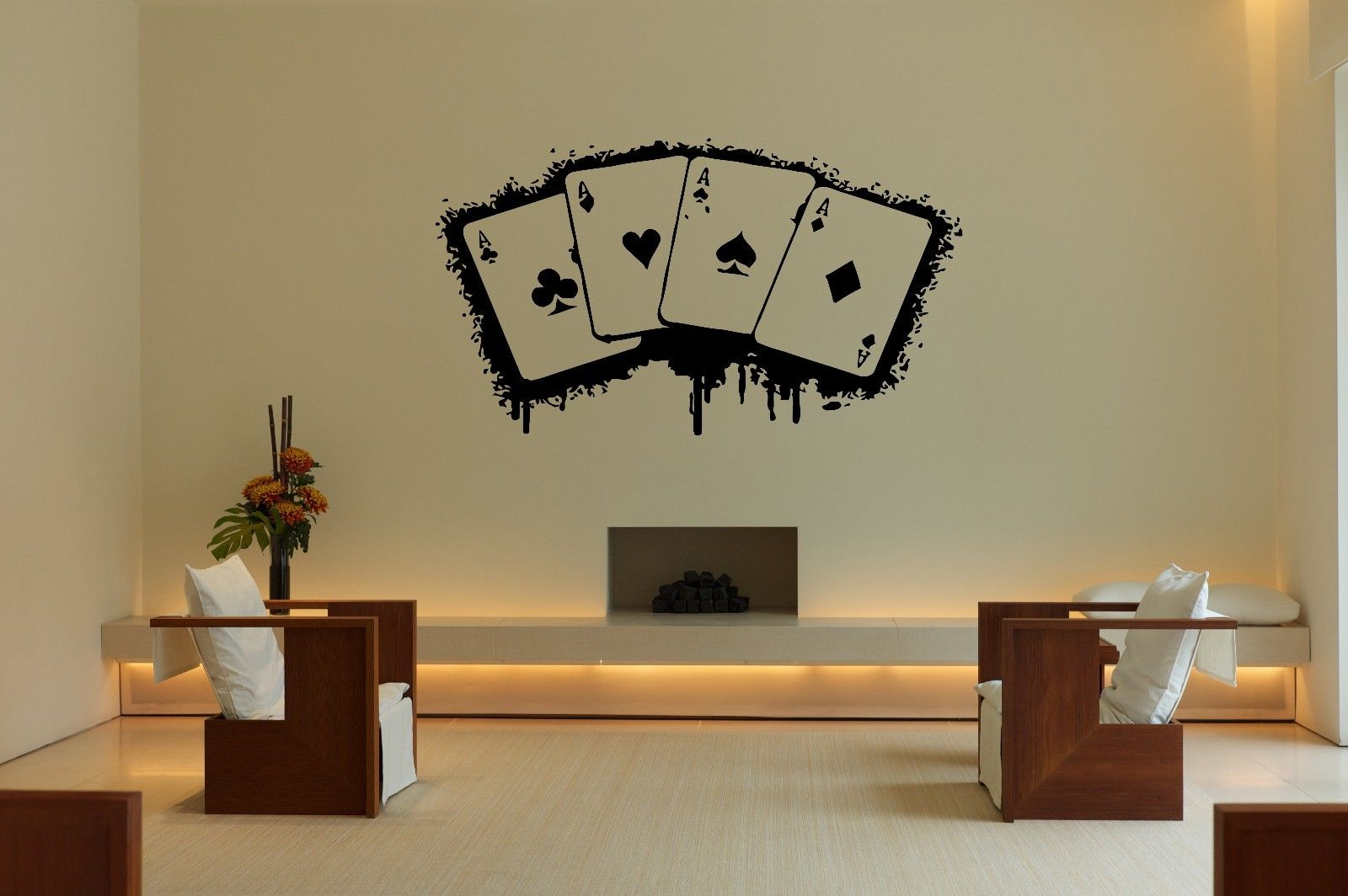 HWHD Wall Vinyl Sticker Decal Decor Room Design Ace Card Game Play Fun Casino free shipping