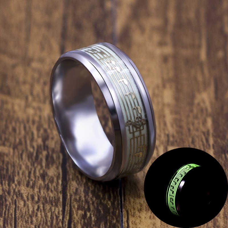 Music Stave Luminous Ring Men Women Creative Cool Wedding Stainless Steel Rings Jewelry