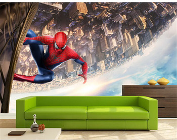 Large Spiderman Cartoon Murals 3d Wallpaper for Kids Room-Free Shipping 3D Wall Stickers For Kids Rooms