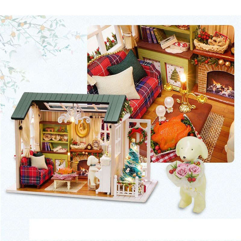 LED Light Miniature Furniture Doll House Dollhouse DIY Kit Wooden House Puzzles Model Toy for Kids Birthday Christmas Gifts (2)