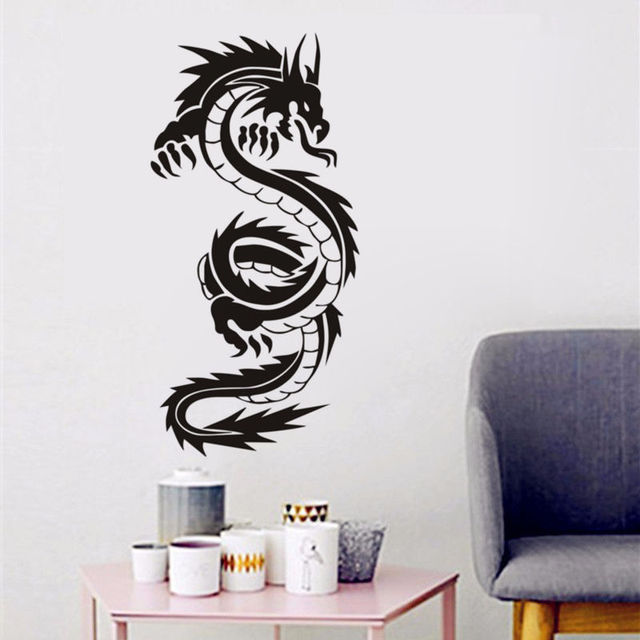 Vintage chinese dragon silhouette wall stickers hot selling for teens boys room vinyl wall art decals