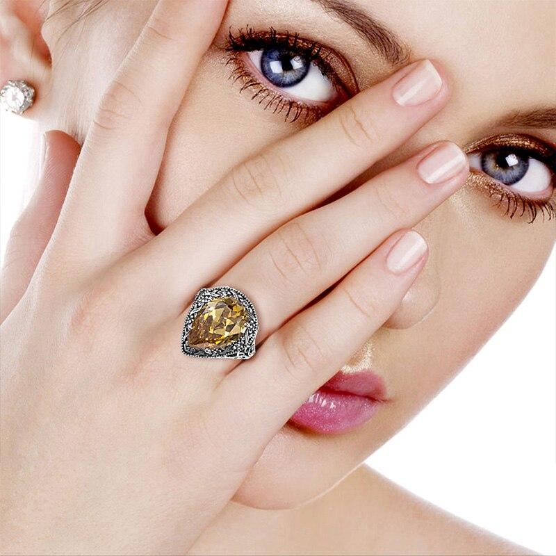 Image 5 - Szjinao 925 пробы Серебряное женское кольцо Carter Love в форме сердца с желтым кристаллом в стиле Виктории, старинное ювелирное изделие, обручальное кольцоwedding bandcarter love ringlove ring -