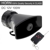 12V 100W 7 Sound Tones Loud Car Warning Alarm Police Fire Siren Horn Speaker With Black