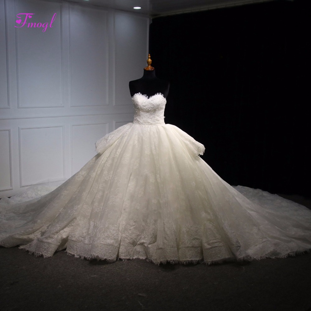 Royal Wedding Ball Gown: Fmogl Romantic Strapless Off The Shoulder Ball Gown