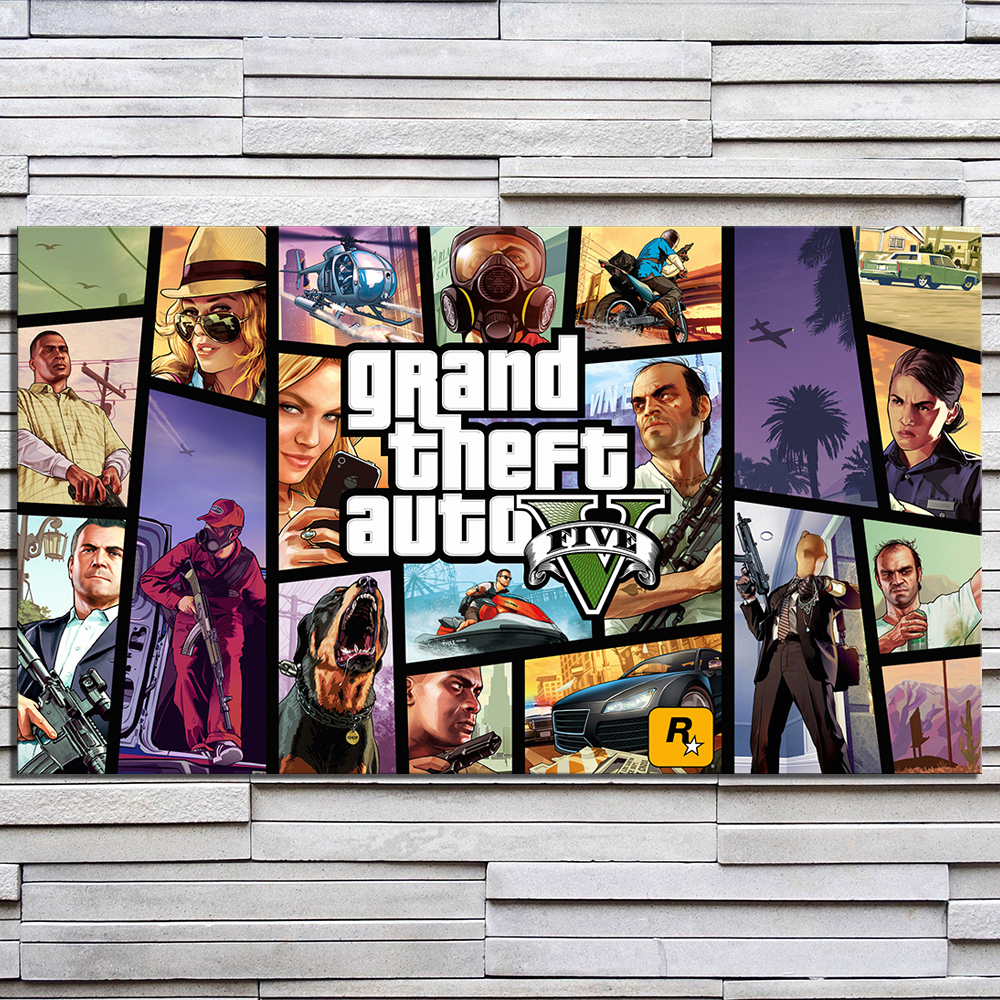 1 Piece HD Cartoon Picture Grand Theft Auto V Video Game Poster Painting GTA 5 Games Art Print Canvas Paintings Wall Art 3