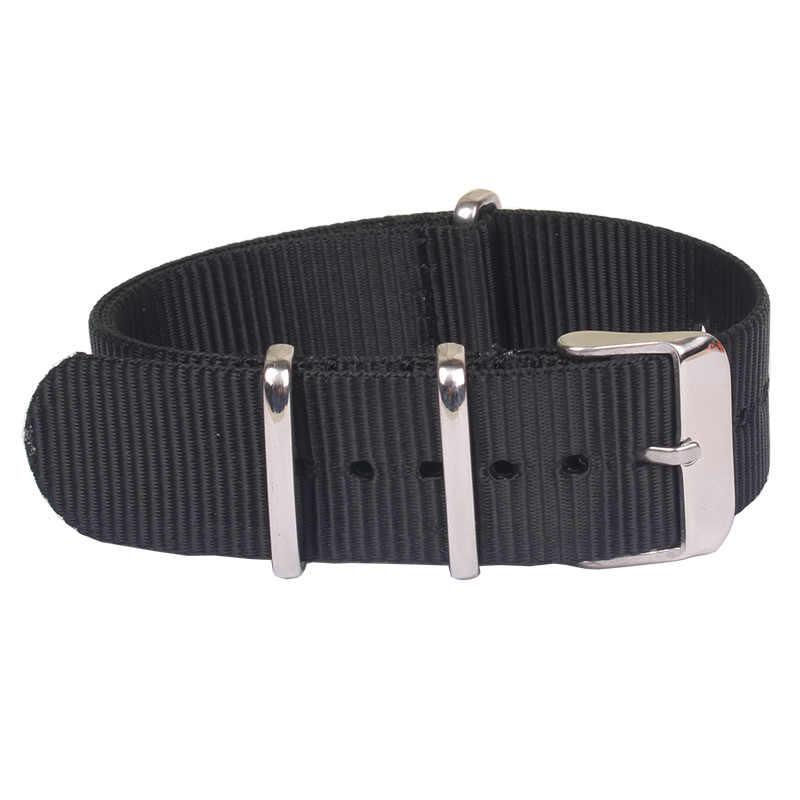 Zulu Nieuwe Sterke 18mm 20mm 22mm horloge band band Zwarte horlogeband stof Nylon Nato Horloge rvs gesp 20mm