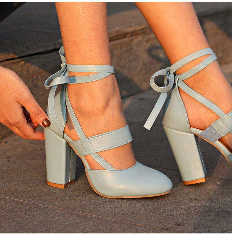 Women Pumps Comfortable Thick Heels Women Shoes Brand High Heels Ankle Strap Women Gladiator Heeled Sandals 8.5CM Wedding Shoes 11